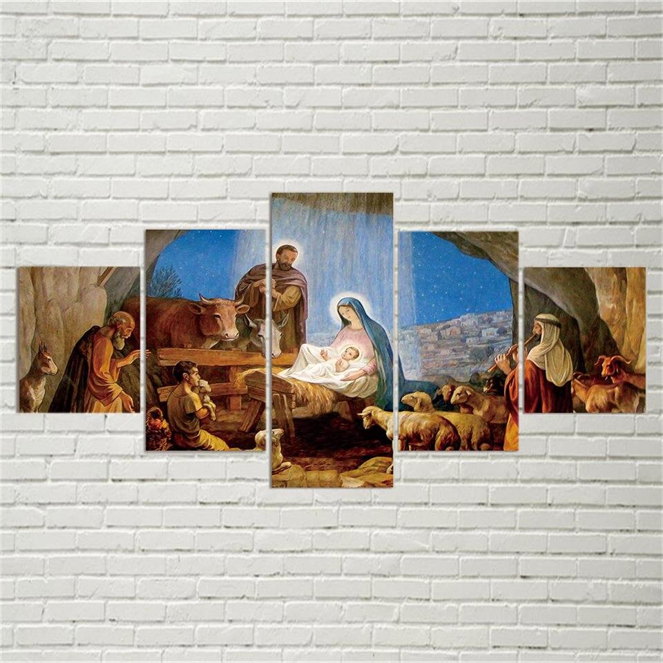 5D plein bricolage 5 panneau 5d diamant peinture naissance chrétien jésus point de croix mosaïque décor noël cadeau