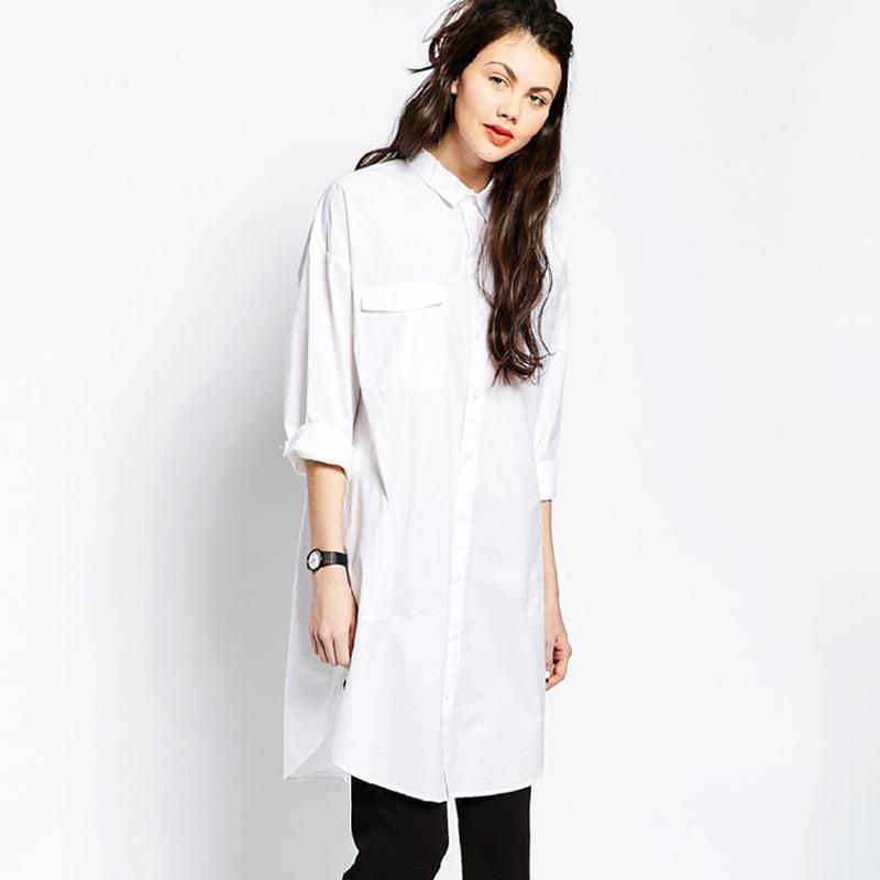 Купить длинную белую рубашку для женщин