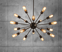 12 18 Heads Satellites Chandelier American Retro Industrial Loft Living Room Lamp Nordic Iron Multi Head