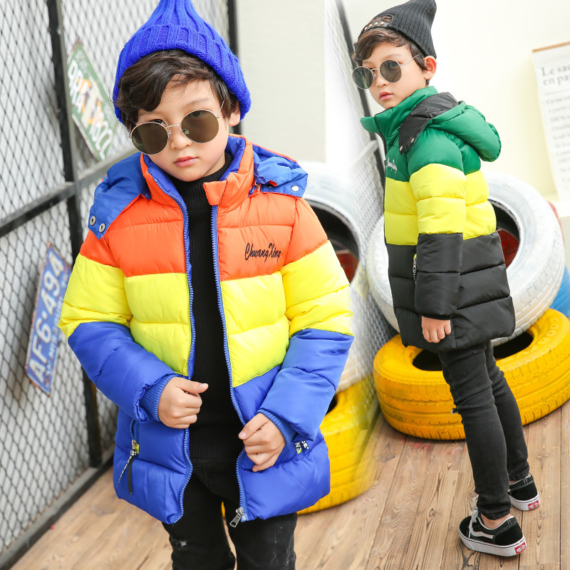 цены 2018 Thick Kids Winter Coat Boys Parka Jacket Hooded Children Patchwork Cotton Baby Boy Winter Jacket Boys Outerwear Coats 3-12T