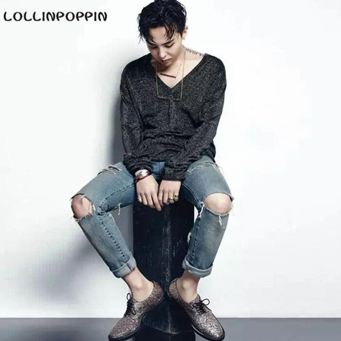Men Distressed Knee Holed Jeans Vintage Enzyme Washed Male Ripped Denim Pants Slim Fit Korean Fashion KPOP Broken Jeans men distressed knee holed jeans vintage enzyme washed male ripped denim pants slim fit korean fashion kpop broken jeans