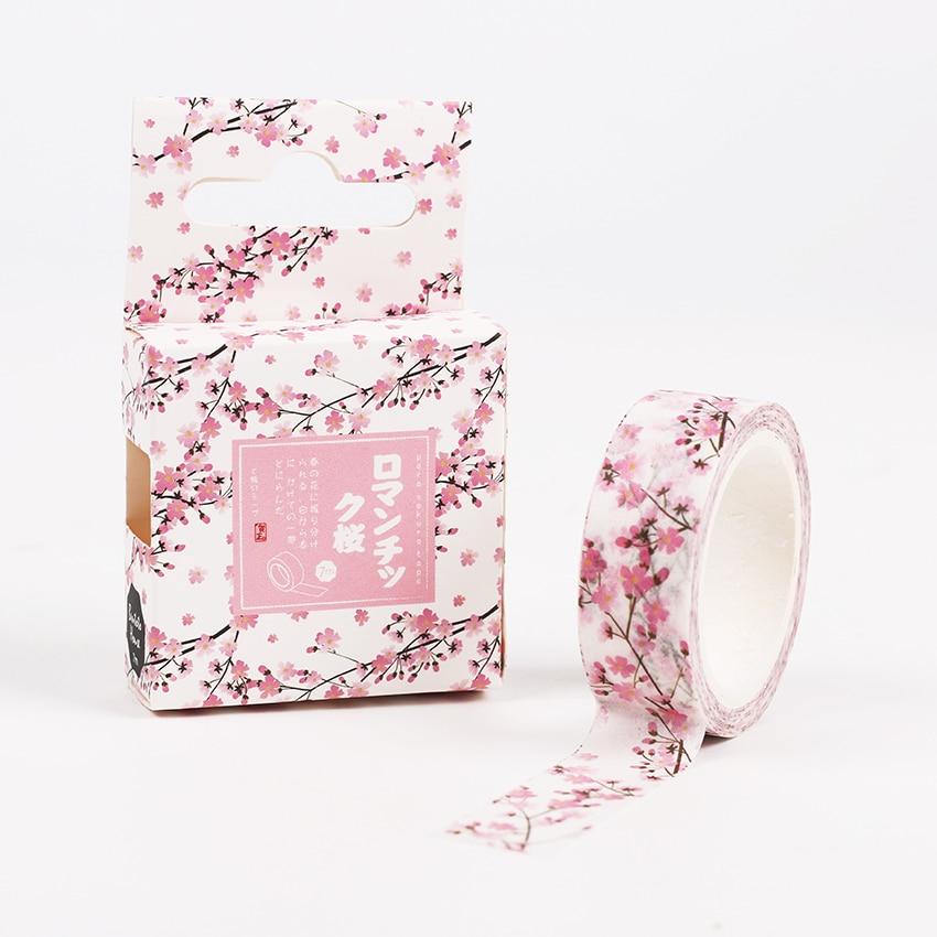 15mm X 7m Cute Sakura Flower Decorative Washi Tape DIY Scrapbooking Masking Tapes School Office Supply 15mm x 7m cute lotkawaii flower food animals decorative washi tape diy scrapbooking masking tape school office supply