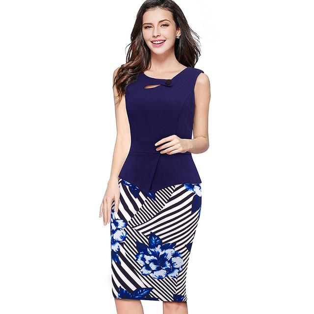 Summer Elegant Women Business Dress Pink Print Floral Tunic Bodycon Sheath Casual Pencil Dresses Plus Size B288