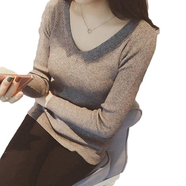 Vrouwen Mode Herfst V Hals Solid Gebreide Truien Truien Casual Slim