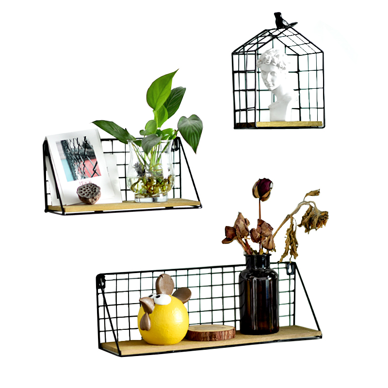 Creative contracted iron net wood partition wall hanging shelf metope adornment Wrought iron wooden shelf wall act the ofing Полка