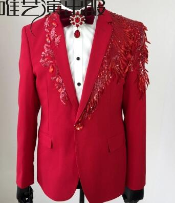 Red sequin suits mens designs masculino homme terno stage costumes singers men blazers dance clothes jacket star style dress