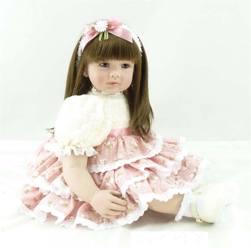 60cm Silicone Vinyl Reborn Baby Doll Toy 24inch Princess Toddler Babies Dolls Lifelike Bebes reborn Child