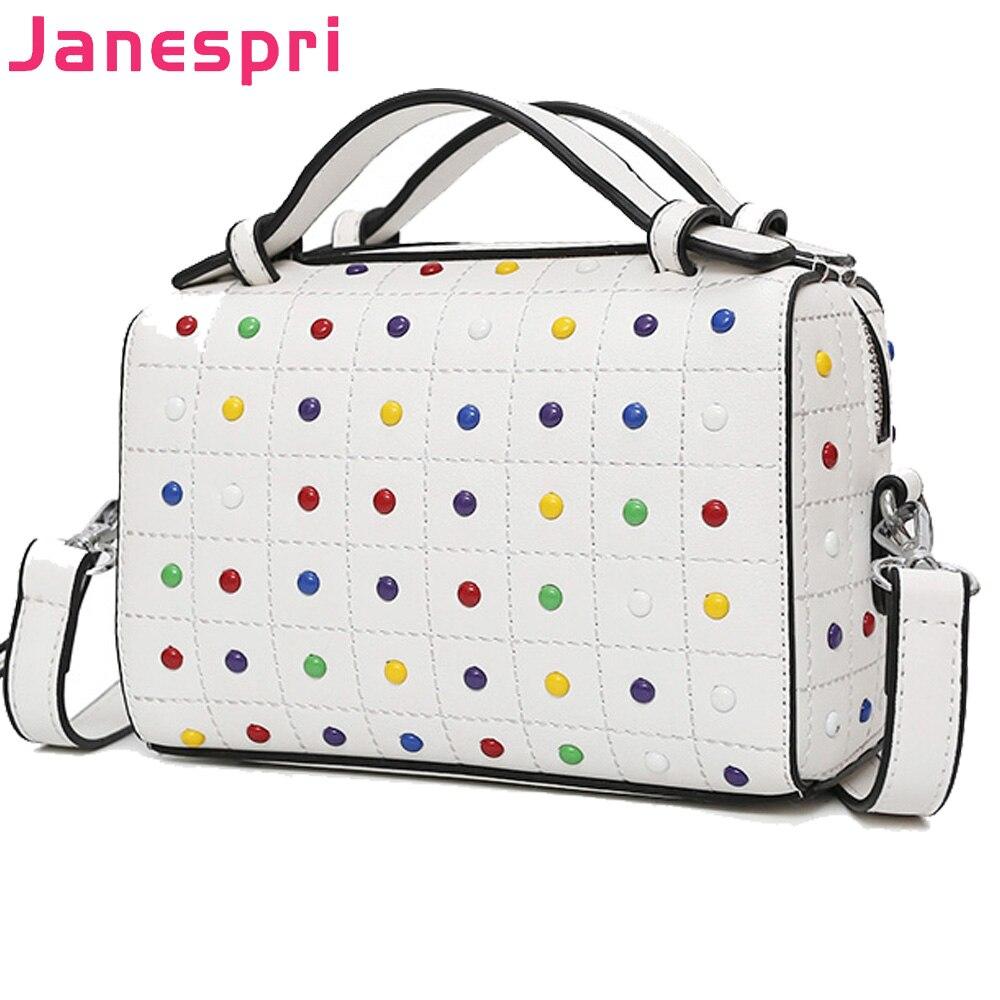 JANESPRI Crossbody Bags for Women Messenger Bags 2018 Vintage Leather Bags Women Handbags Famous Brand Rivet Small Shoulder Sac