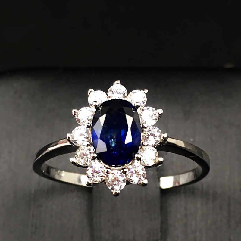 Women Natural Sapphire Stone Ring Genuine Solid Silver Gem Jewelry Sun Flower Shape Rings