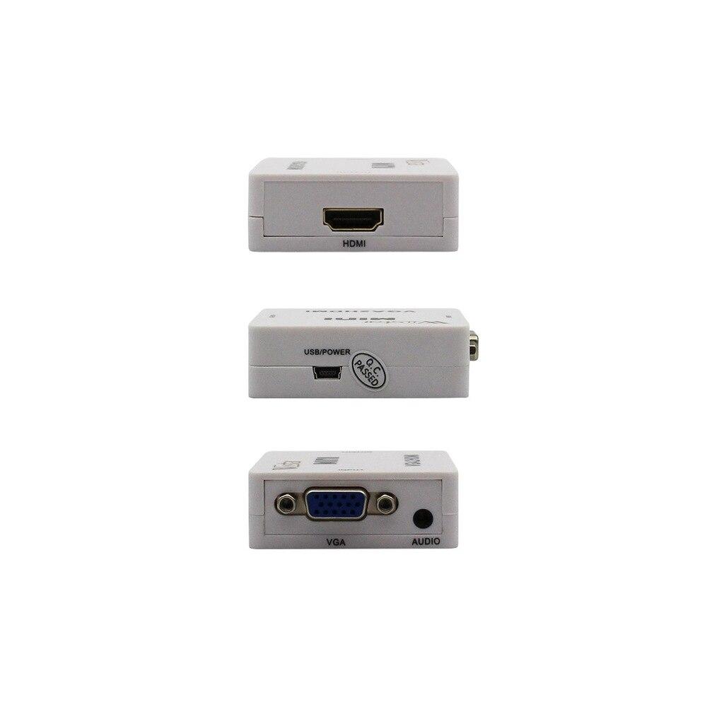 VGA2HDMI Hembra a Hembra Mini VGA a HDMI 1080 P Adaptador de convertidor de Potencia de Audio para PC proyector port/átil