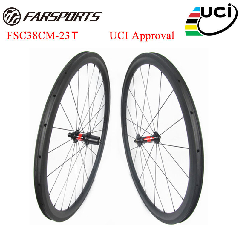 700C road bicycle wheelsets 38mm deep 23mm 25mm wide clincher rims built with DT 240 hub 36 ratchets upgraded FSC38CM-23T