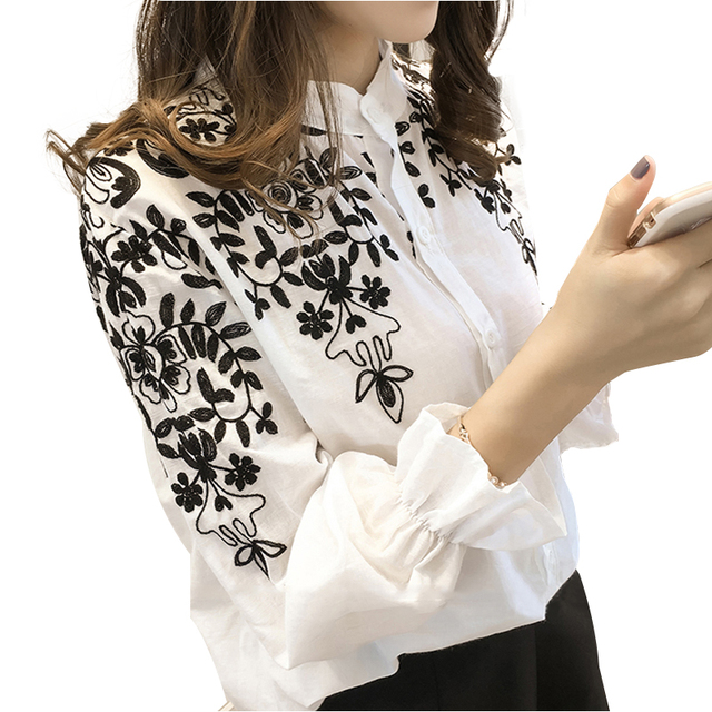 2018 Fashion Female Clothing Embroidery Blouse Shirt Cotton Korean Flower Embroidered Tops Korean Style Fresh shirt 529E 25 4