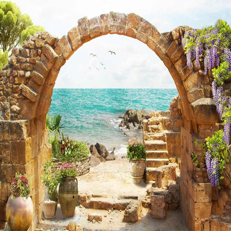 Custom 3D Mural Wallpaper Garden Stone Arch Sea View 3D Background Wall Painting Fresco Living Room Cafe Restaurant Wallpaper 3D