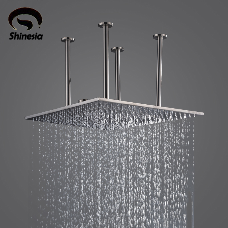 Stainless Steel 20 Inch Rainfall Shower Head Top Shower Sprayer with Shower Arm Ceiling Mounted 12 inch shower head with arm 300 300 stainless steel head shower with ceiling shower arm top water saving rain shower