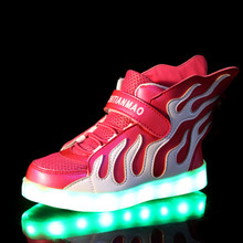Children USB Charging Led Light Shoes Sneakers Kids Light Up Shose with Wings Luminous Lighted Running