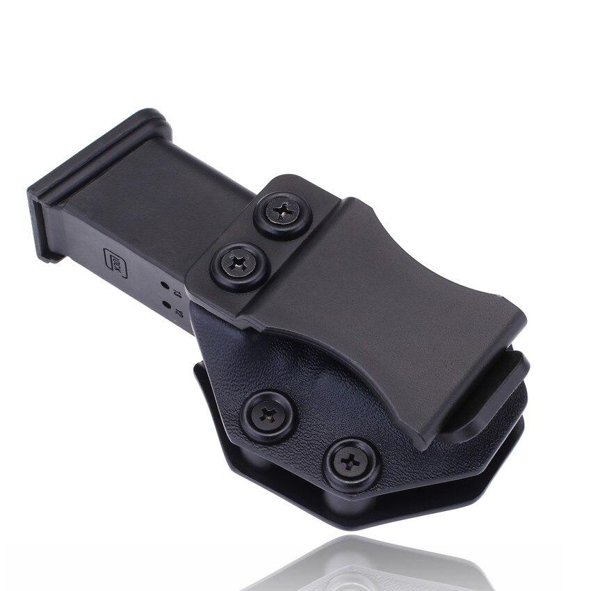 Dentro da cintura iwb kydex magazine carrier mag coldre personalizado para glock 19 23 26 27 32 escondido levar 9mm pistola bolsa