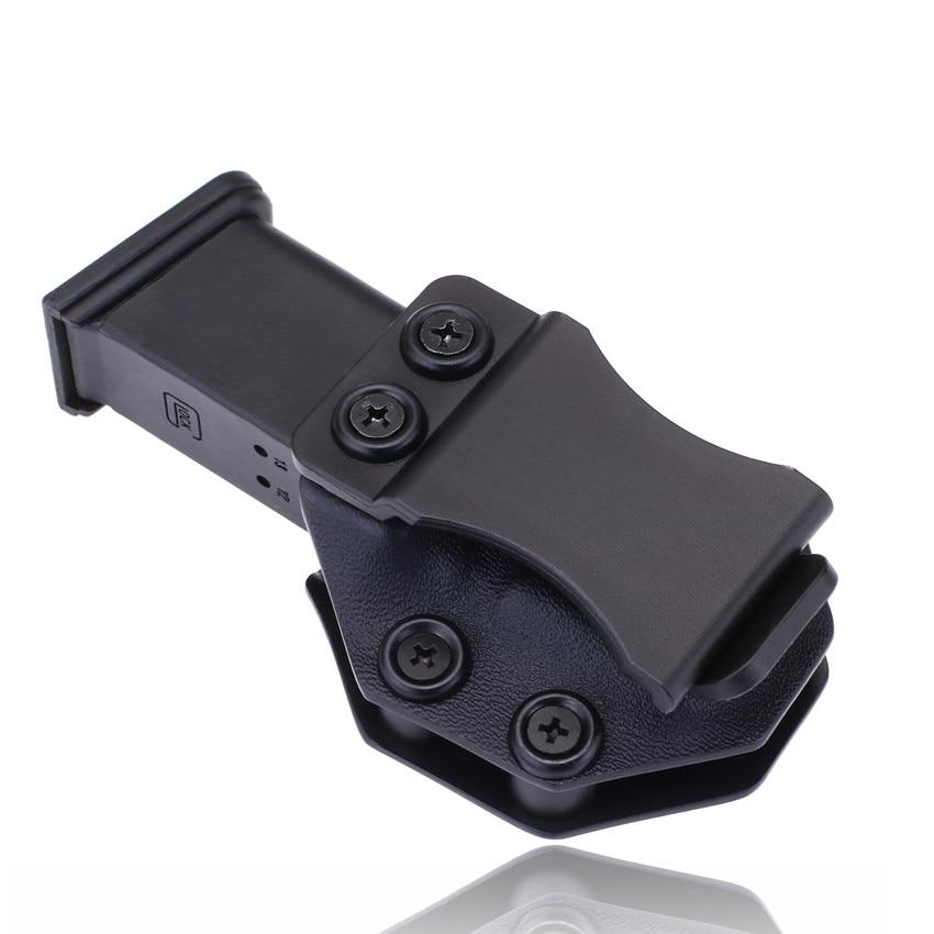 Dentro de la cintura IWB Kydex cargador Mag Holster personalizado para Glock 19 23 26 27 32 funda de pistola de 9mm