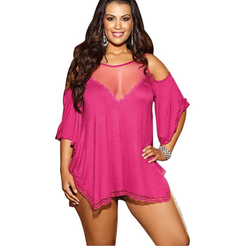 2018 Lace Babydoll Sleepwear Fashion See Through Plus Size Babydoll Lingerie See Through <font><b>Camison</b></font> <font><b>Sexy</b></font> <font><b>Mujer</b></font> Dress With G-string image