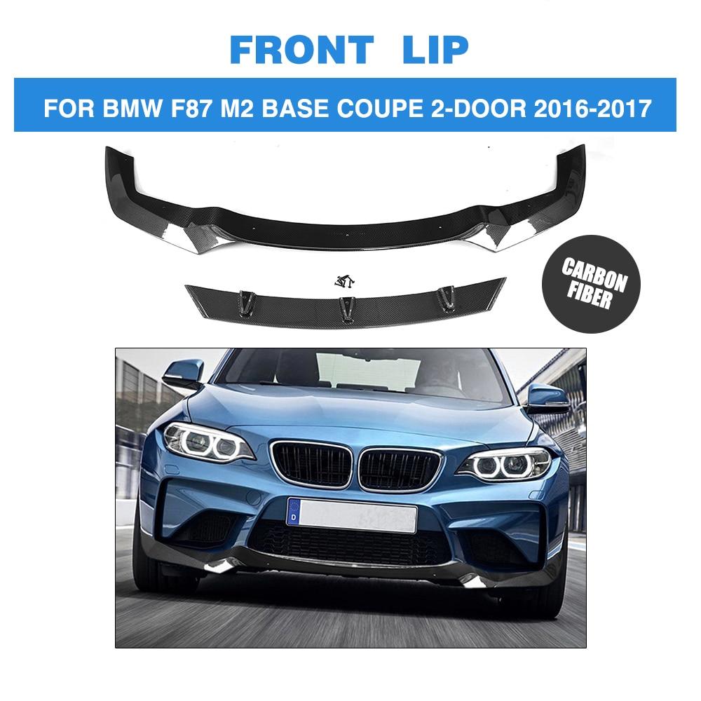 Carbon Fiber Front Bumper Lip Spoiler for BMW F87 M2 Base Coupe 2 Door 2016 2017 V Sytle Car Styling