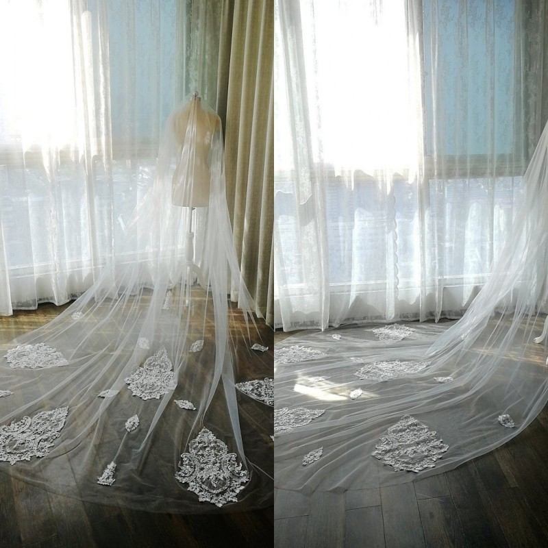 2020 New Bridal Veils White Ivory Cathedral Length Lace Crystal Appliqued Edge One Layer Bridal Wedding Veil With Combs