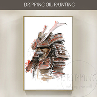 High Quality Wall Art Hand painted Japan Samurai Painting Warrior Japanese Armor Oil Painting for Wall Decoration Armor Painting