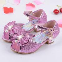 Ragazze sandali degli alti talloni dei bambini della principessa di modo cuoio estate elsa scarpe chaussure enfants fille sandalias nina