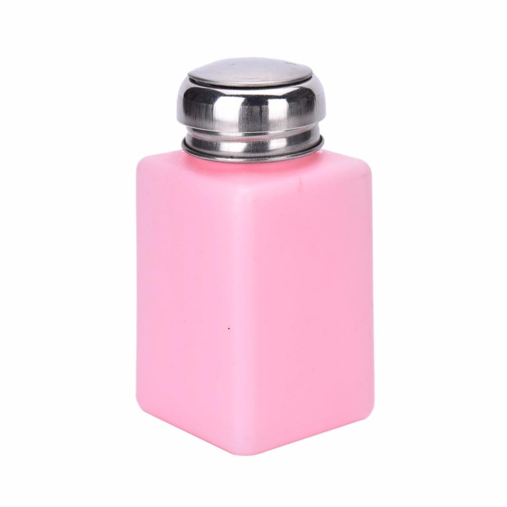 200ML Empty Professional Pink Bottle Pump Dispenser Nail Polish Liquid Alcohol Remover Nail Art Equipment Tool