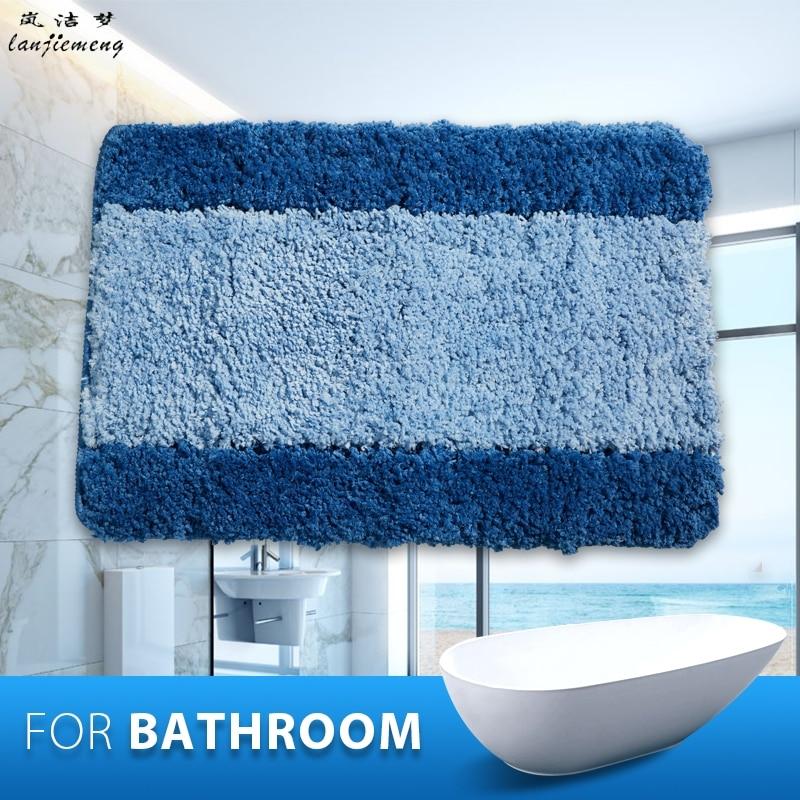 2017 Polyester Anti Slid Bathroom Mats Capacho Stripe Bath Mat Solid Bathroom Floor Mats Carpet