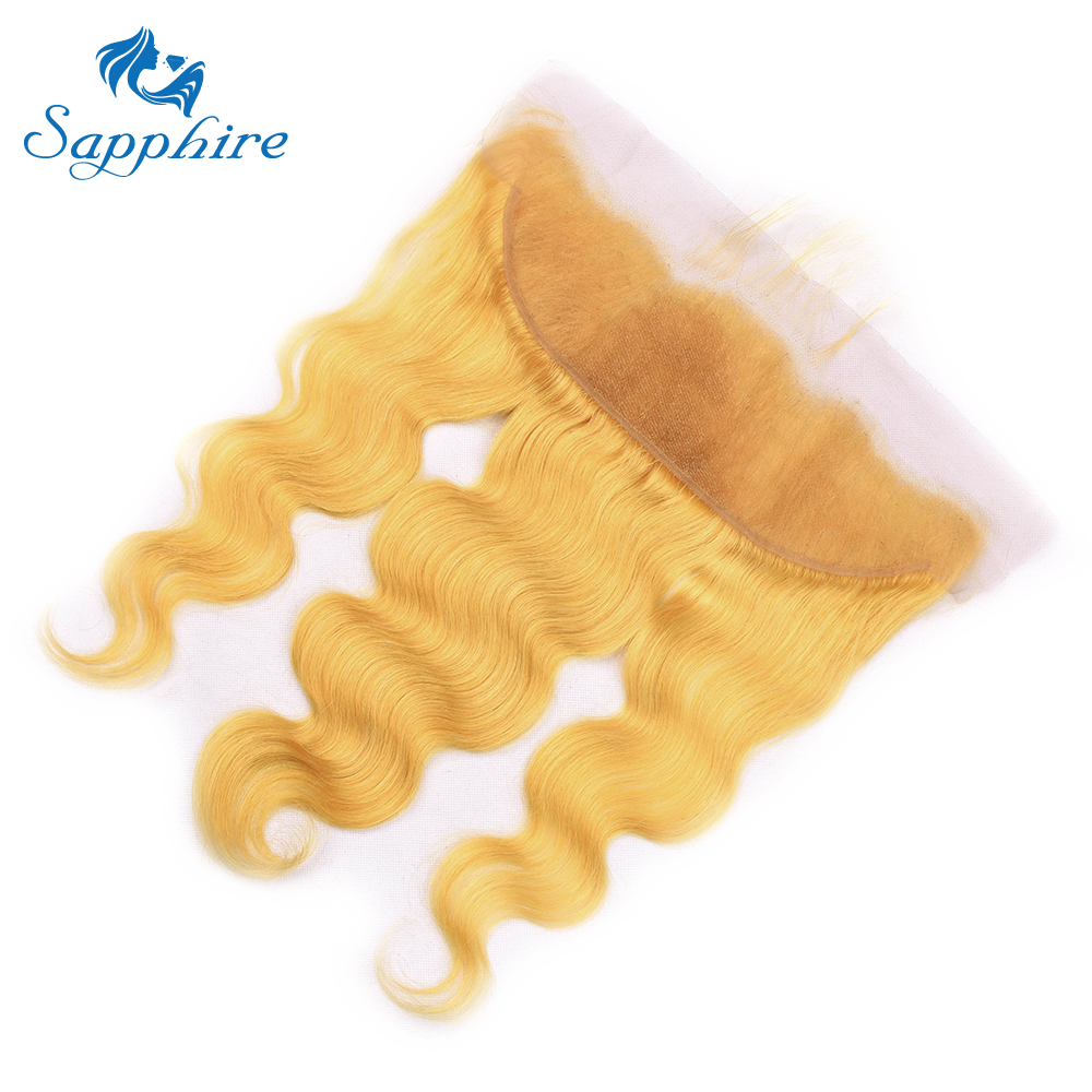 Sapphire Light Yellow Malaysia Body Wave Lace Frontal Malaysia Pre-colored Ear To Ear Lace Frontal with Baby Hair For Hair Salon
