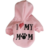 2016 Fashion Pet Dog Clothes I Love My Mum Sweatshirt Hoodie For Winter Warm Cute Coat Puppy XS,S,M,L