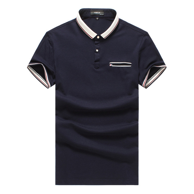 2016 turndown collar Men Polo Shirts Patchwork pocket Short Sleeve Slim Fit Tee Shirt Homme Casual Polos Shirt Male MQ124