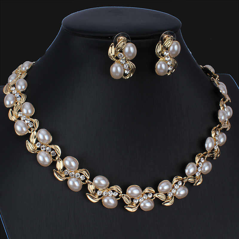 jiayijiaduo  African Wedding Jewelry Set for Women Bridal Jewelry Gold Color Necklace Earring Set dropshipping