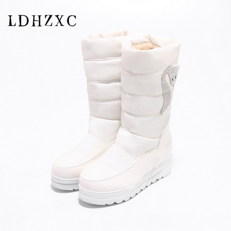 LDHZXC 2018 new winter women snow boots fashion mid calf boots high heel women shoes winter party shoes it`s black and white