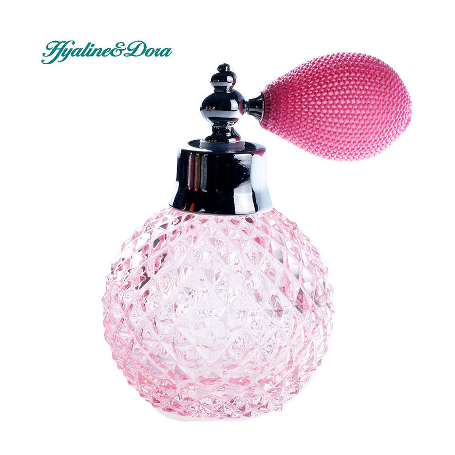 110ML Pink Unique Glass Crystal Women Refillable Perfume Bottle Pink Mesh Atomizer Bulb Short Spray Scented Fragrance Atomizer blue 110ml crystal glass empty refillable woman perfume bottle atomizer long bulb spray scented fragrance containers bottle