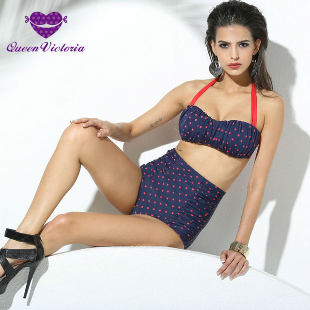97c3e214d45 2016 HOT European Style sexy lady Bikinis Set red dot high waist small  resistance SWIMSUIT slimming fat boobs PUSH-UP DEEP BLUE