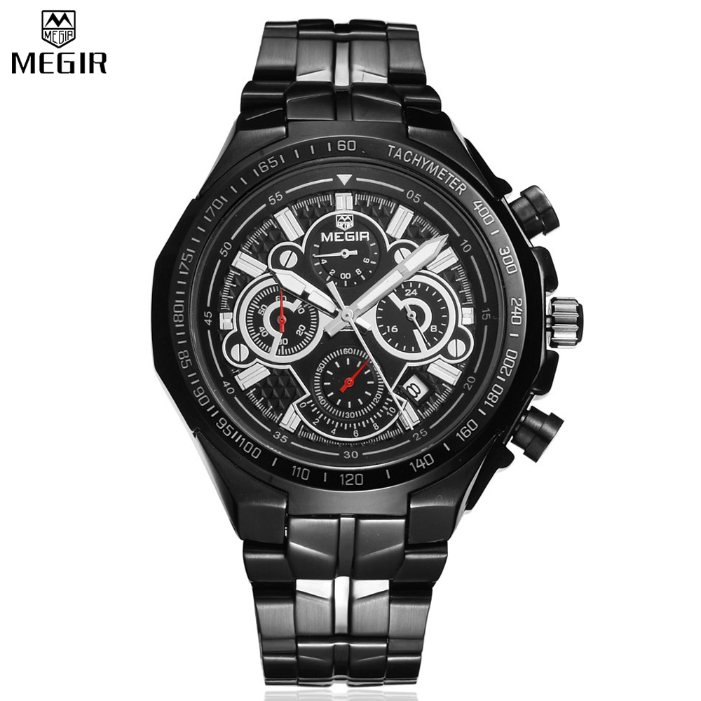 MEGIR Famous Brand Chronograph Stainless Steel Men Quartz Waterproof Watches Sport Fashion Multifunction Travel Time Watches