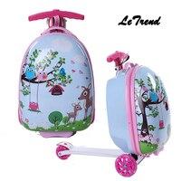 Letrend Дети Сумки на колёсиках колеса стула чемодан для детей тележка Студент Путешествия Duffle милый мультфильм Carry On школьная сумка
