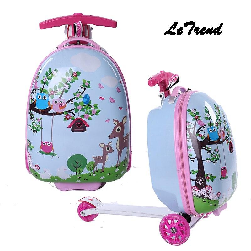 Letrend enfants roulettes à bagages roulettes valise à roulettes pour enfants chariot étudiant voyage Duffle dessin animé mignon continuer sac d'école