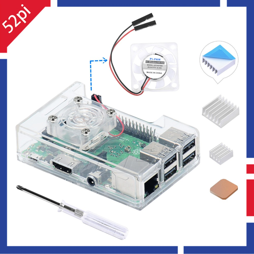 52Pi ABS Transparent Clear / Black / Blue Case Cover Shell Enclosure Box Compatible with Raspberry Pi 3B Plus (3 B+) / 3 Model B52Pi ABS Transparent Clear / Black / Blue Case Cover Shell Enclosure Box Compatible with Raspberry Pi 3B Plus (3 B+) / 3 Model B