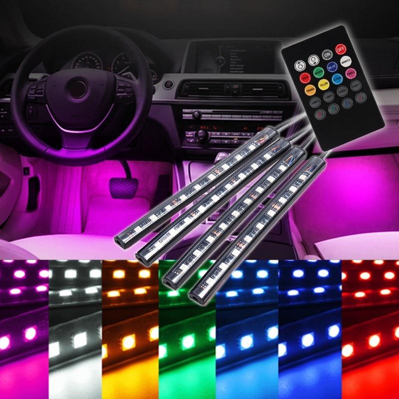 4pcs 12V RGB Wireless Remote Music Control 9 LED Car Auto Interior Floor Decorative Atmosphere Light