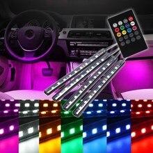 4 шт. 12 В RGB Беспроводной дистанционного Музыка Управление 9 LED авто интерьер этаж Декоративные Атмосфера лампы светодиодные полосы стайлинга автомобилей
