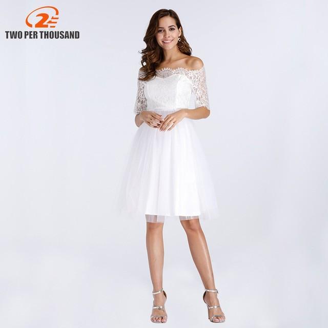 e7cd683cdb Vintage Lace Dress Women Off Shoulder Half Sleeve Casual Robe Femme Summer  Dresses Vestido White Elegant A Line Party Dress