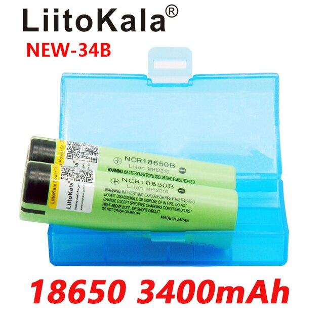 كشاف يدوي ببطارية ليثيوم قابل لإعادة الشحن 2019 2 قطعة LiitoKala جديد أصلي NCR18650B 34B 3.7V 18650 3400mAh