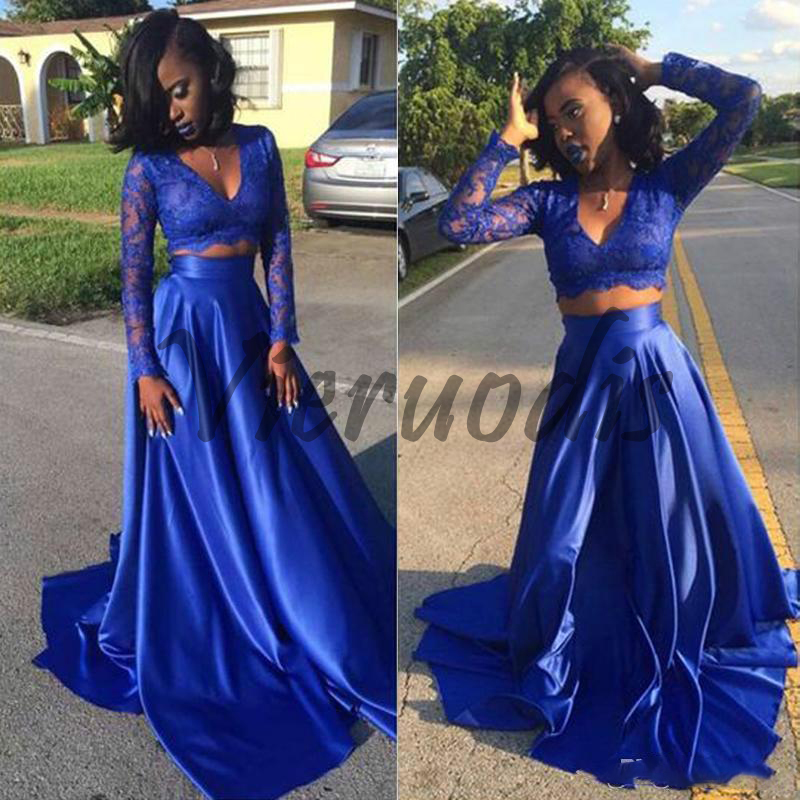 2018 Simple Lace Long Sleeves Prom Dresses Elastic Stain Floor Length Two Pieces Evening Gowns V Neck Sheer Arabic African Dubei