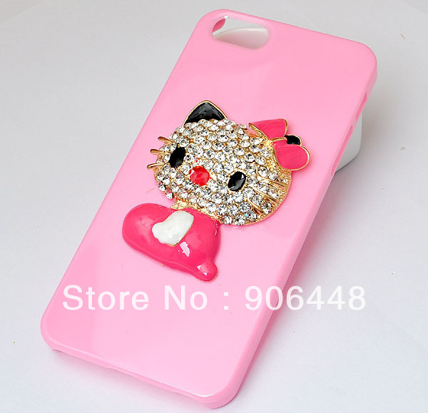 DIY Handmade Pink Cell Phone Case for iphone 4 4s 5 5s with All kinds of Little Alloy Charms Many Kinds for Option