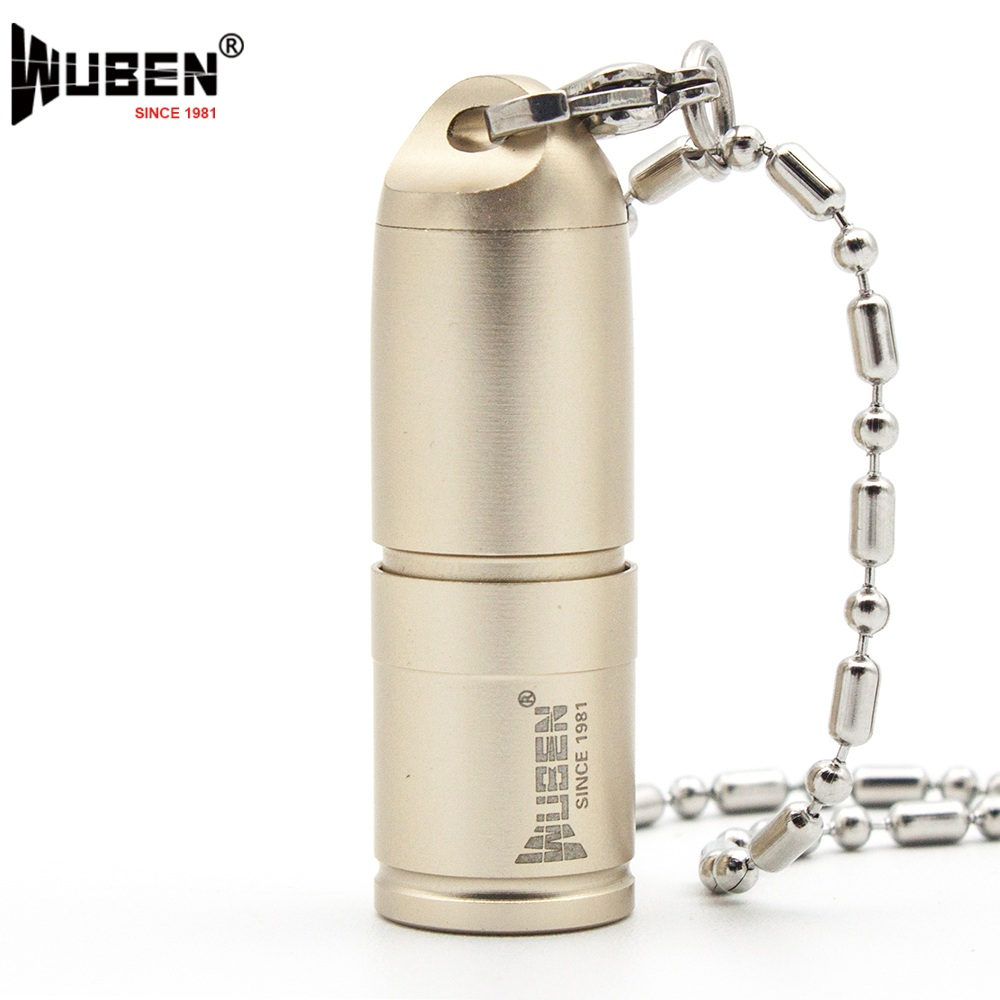 LED Flashlights Small Torch Lamp USB Only 41mm 130 Lumen with Necklace Portable Design Keychain Mini Light +Battery WUBEN G344