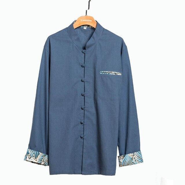 fd517a2c67d0 4XL hommes Automne Manches Longues Kung Fu Chemise Traditionnelle Chinoise  Coton Lin Lâche Blouse Tops Vêtements