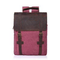 New Vintage Large Crazy Horse Leather Canvas Backpack For Men School Bags Pack Women Laptop Bagpack