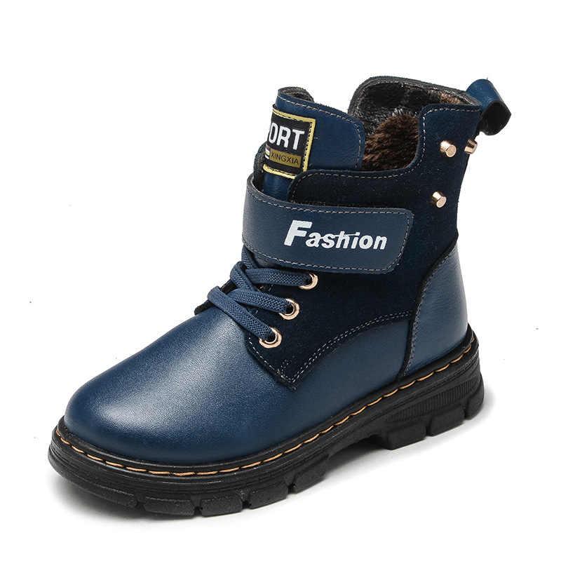 Осенне-зимние детские ботинки для мальчиков; модная обувь до середины икры; зимние ботинки из натуральной кожи; плюшевые теплые водонепроницаемые детские ботинки martin