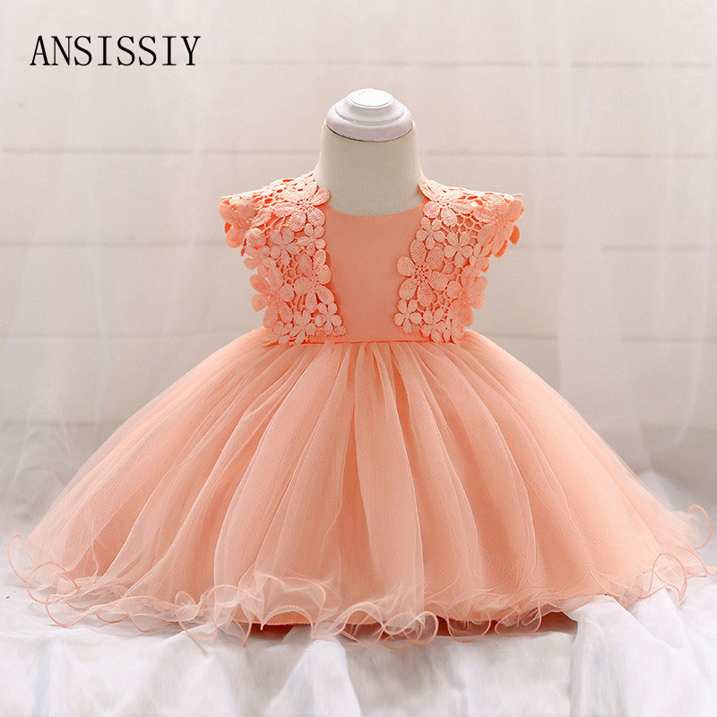 Mesh Princess Newborn Flower Dress Christening Gown Baptism Vestido Newborn Baby Girl 1 Year Birthday Dress Infant Party baby girls tutu dress newborn baby girl clothes baptism christening gown wedding dresses flower vestido bebe vestido de batizado